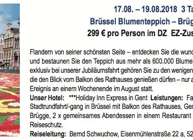 3 Tagesfahrt: Brüssel - Brügge - Gent 17.08.-19.08.2018