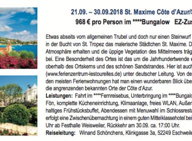 St. Maxime Côte d'Azur 21.09-30.09.2018