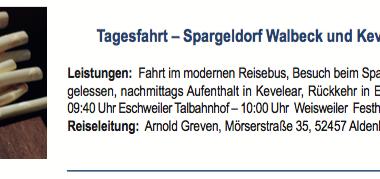 Tagesfahrt - Spageldorf Walbeck und Kevelear am 03.05.2018