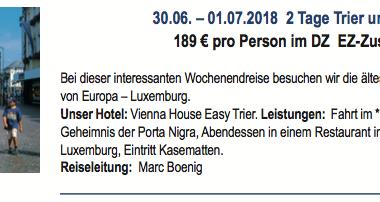 2 Tagesfahrt: Trier und Luxemburg 30.06.-01.07.2018